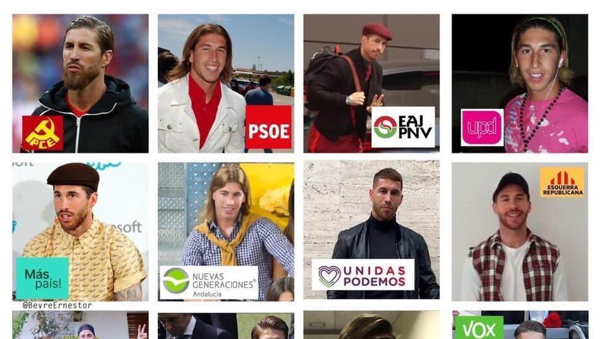 El collage con imágenes de Ramos según los distintos partidos políticos que se ha hecho viral