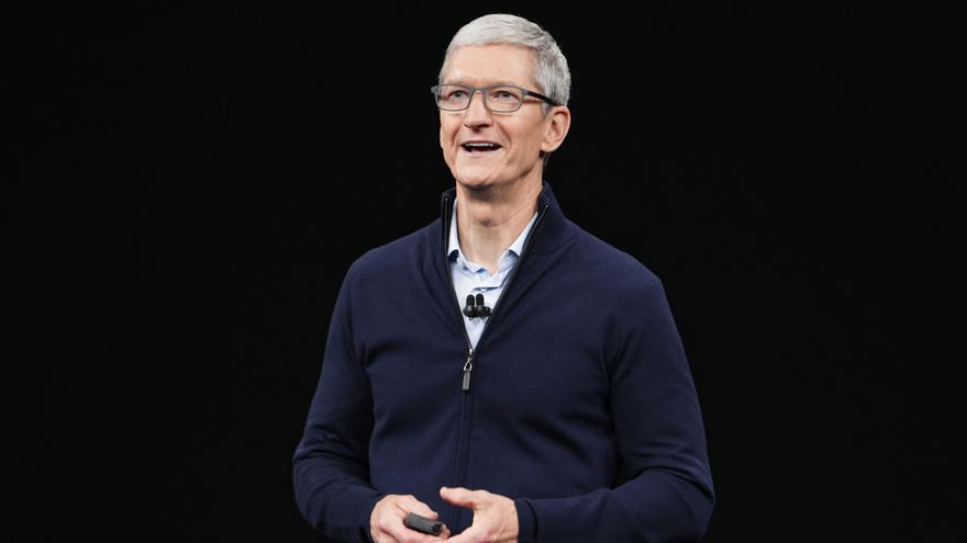 Tim Cook, el director ejecutivo de Apple, durante la conferencia de septiembre de 2017