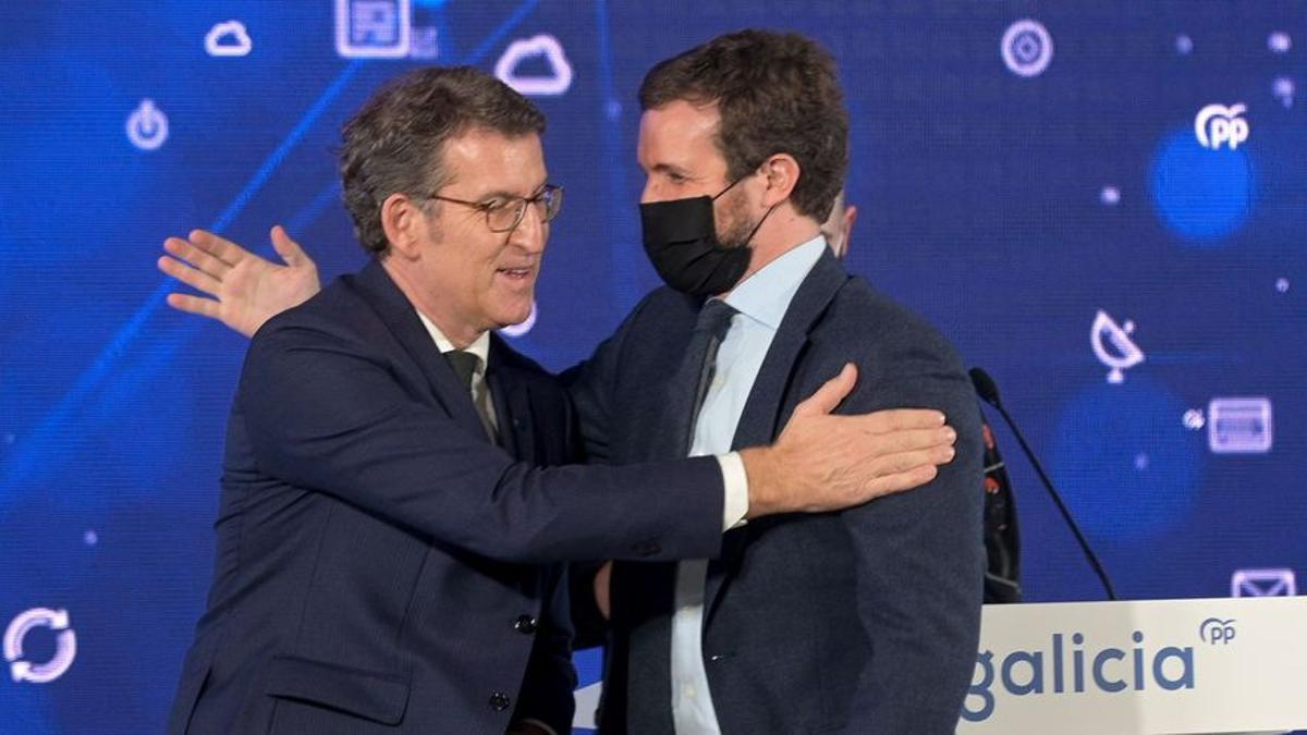 Feijóo posa junto a Pablo Casado sin mascarilla durante un acto electoral