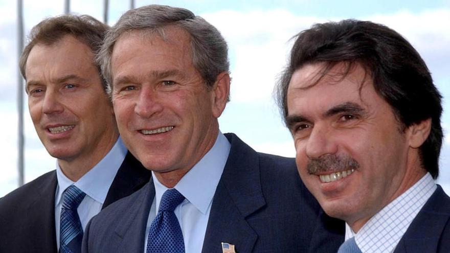 El trío de las Azores: Tony Blair, Bush y Aznar, que dio el pistoletazo de salida a la invasión de Irak