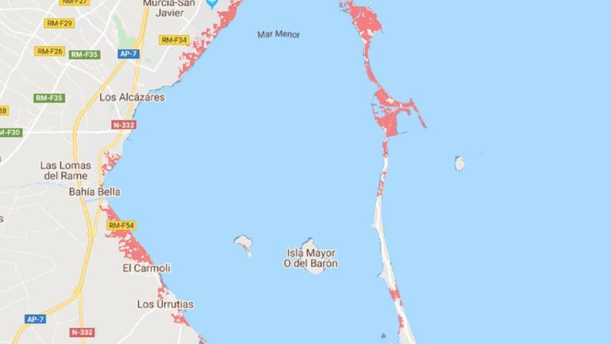 Mapa de riesgo de inundación marina en el Mar Menor.
