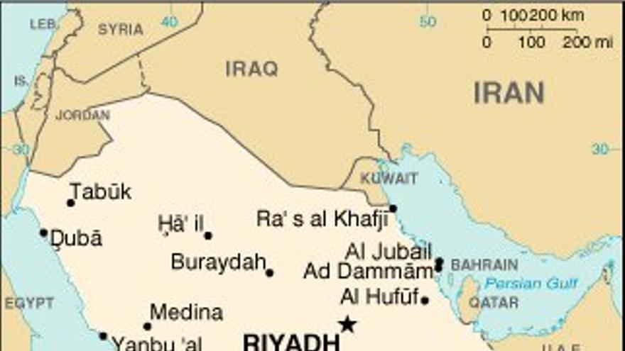 Mapa de Arabia Saudí. United States Central Intelligence Agency's World Factbook.