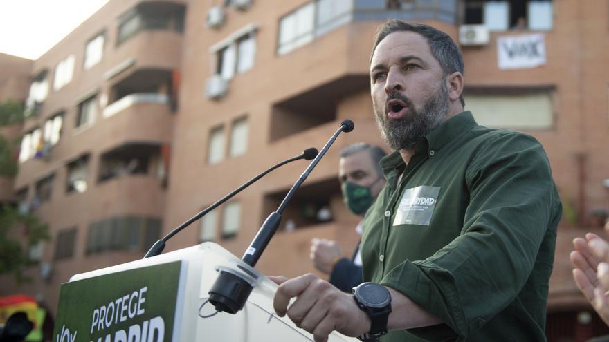 Santiago Abascal presenta la candidatura para las próximas elecciones del 4M en Vallecas.