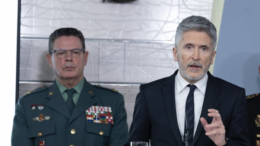 El hasta ahora director operativo de la Guardia Civil, Laurentino Ceña, durante una comparecencia del ministro del Interior, Fernando Grande-Marlaska