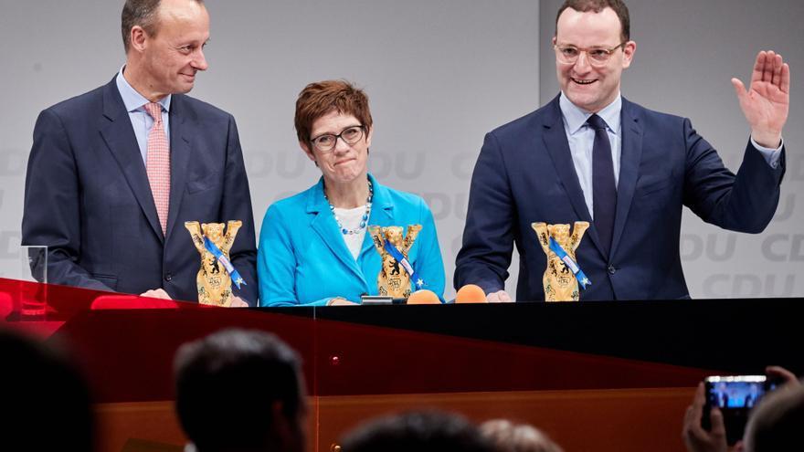 Los candidatos al liderazgo de la Unión Cristianodemócrata (CDU) participan en una conferencia regional