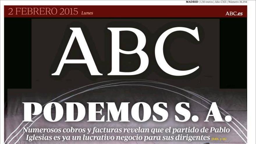 Portada del diario ABC correspondiente al 2 de febrero de 2015