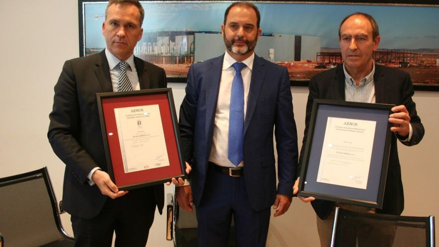 Acto de entrega del Certificado AENOR a Eiffage Energía