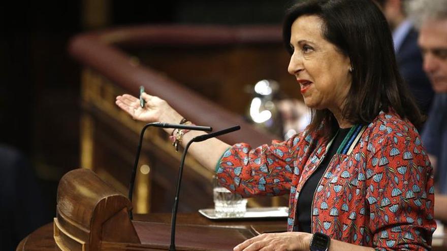 Margarita Robles, la portavoz del PSOE, defiende la moción de censura en la segunda sesión de debate.