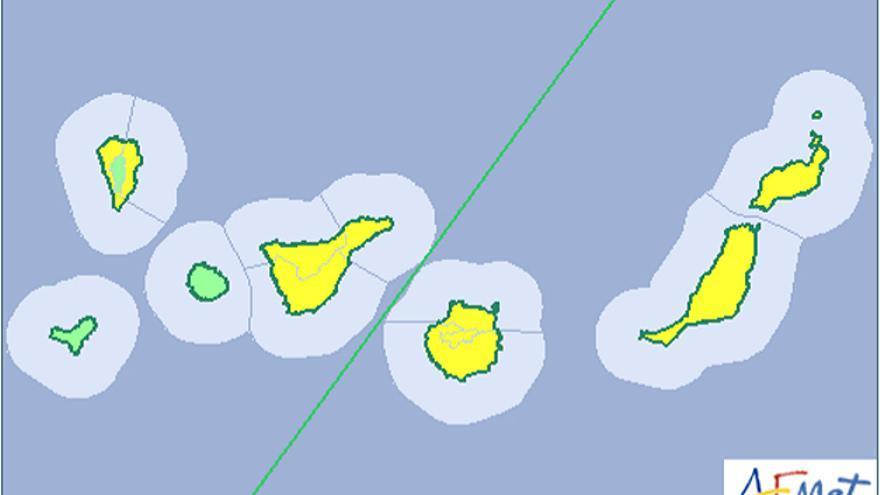 La Aemet activa el aviso amarillo en Canarias por  viento y calima.