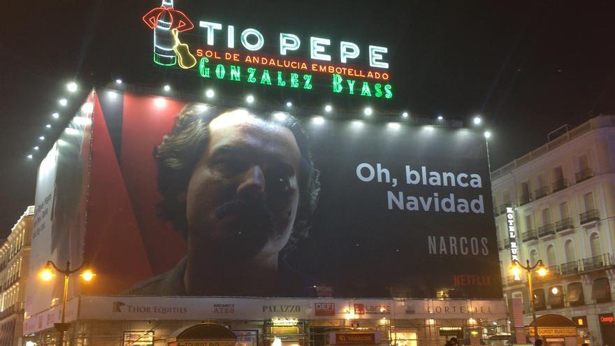 El anuncio de Netflix en la Puerta del Sol de Madrid.   FOTO: G.L.