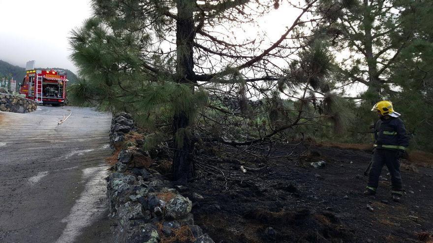El conato de incendio registrado este domingo en la zona de Las Manchas fue rápidamente controlado por los bomberos del Parque de La Laguna. Foto: BOMBEROS LA PALMA