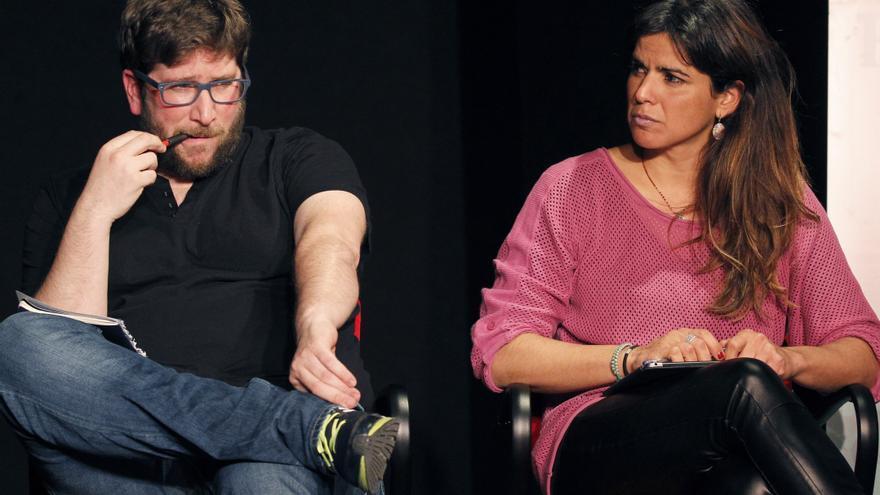 El eurodiputado de Podemos Miguel Urbán y la secretaria general de Podemos Andalucía, Teresa Rodríguez.