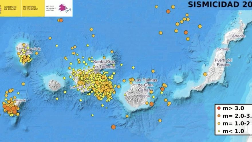 Mapa de la sismicidad en Canarias en 2018 del Instituto Geográfico Nacional  (IGN).