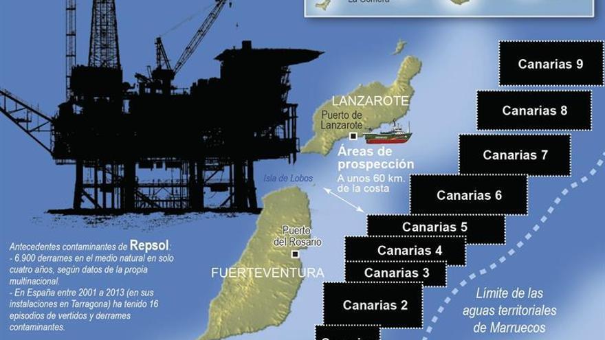 Infografía donde se muestran las cuadrículas donde hay permiso para las prospecciones petrolíferas en Canarias. EFE.