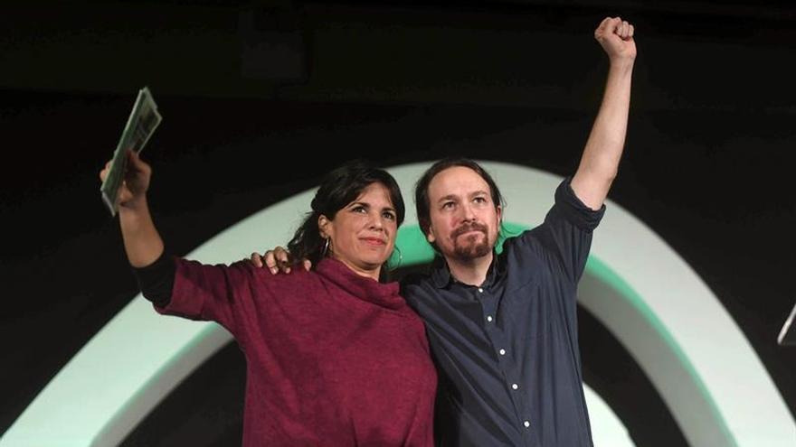 Pablo Iglesias y Teresa Rodríguez, durante la campaña de las elecciones andaluzas de 2018.
