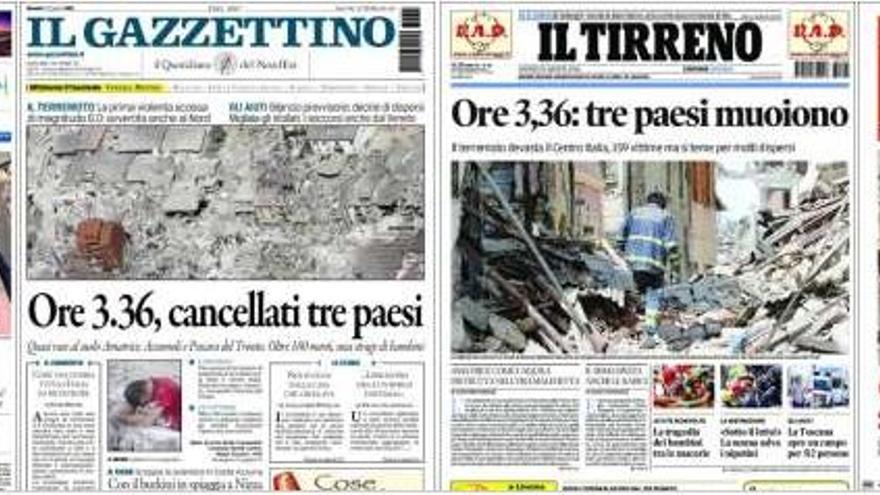 Las portadas de los periódicos italianos tras el terremoto