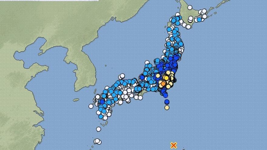 Mapa de la Agencia Japonesa de Meteorología tras el terremoto del 30 de mayo de 2015.