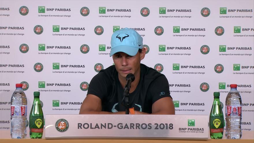 Rafael Nadal, ayer en rueda de prensa (Youtube Roland Garros)