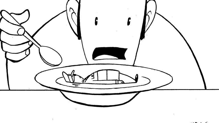 Hasta en la sopa