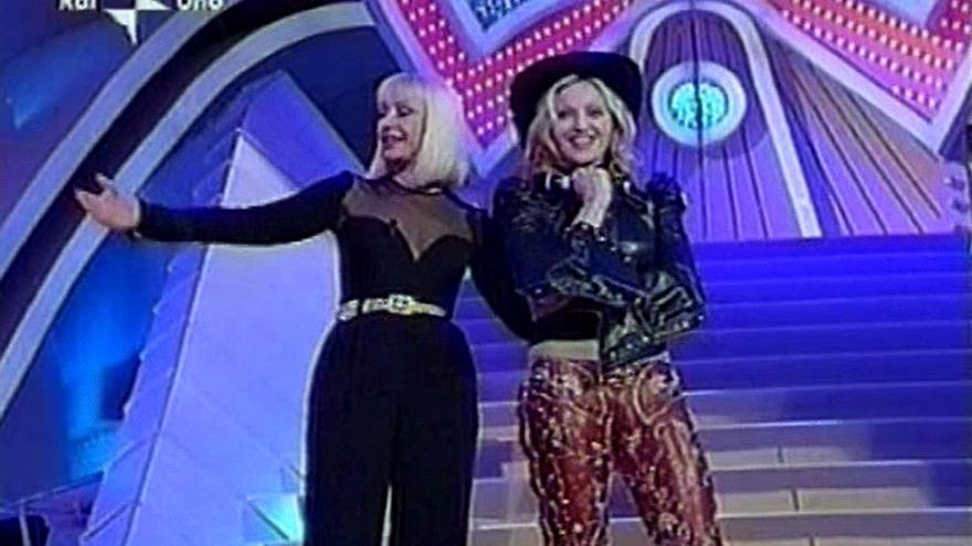 Raffaella cuando recibió a Madonna en su programa en la RAI