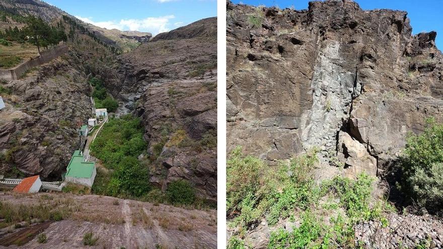 A la izquierda: Ranura vista desde el muro de contención. A la derecha: La cerrada primitiva de 1941-42.