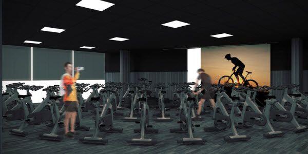 Sala de ciclo indoor del futuro CDM de Barceló | Imagen: Forus