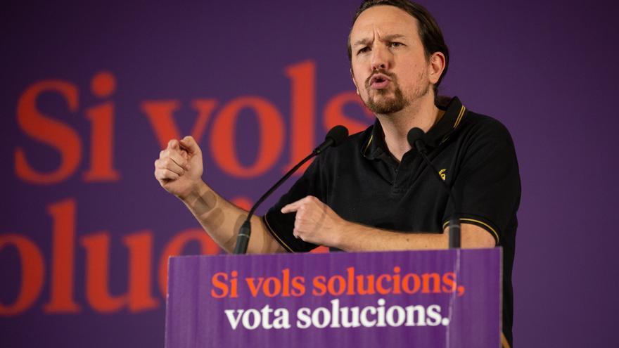 Pablo Iglesias durante un acto de campaña de los comuns en Barcelona.