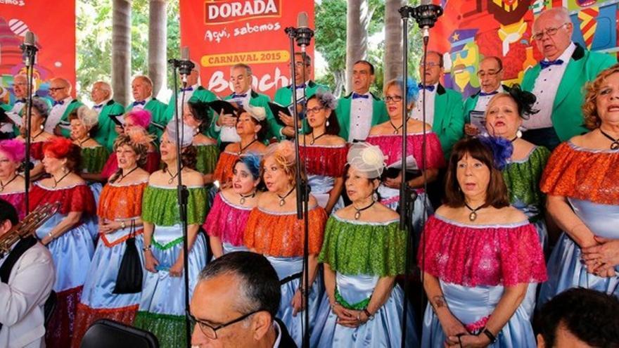 Actuación de una de las agrupaciones del Carnaval de Santa Cruz de Tenerife