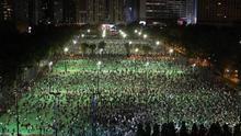 Concentración en Victoria Park, Hong Kong, en conmemoración de la matanza de Tiananmen,