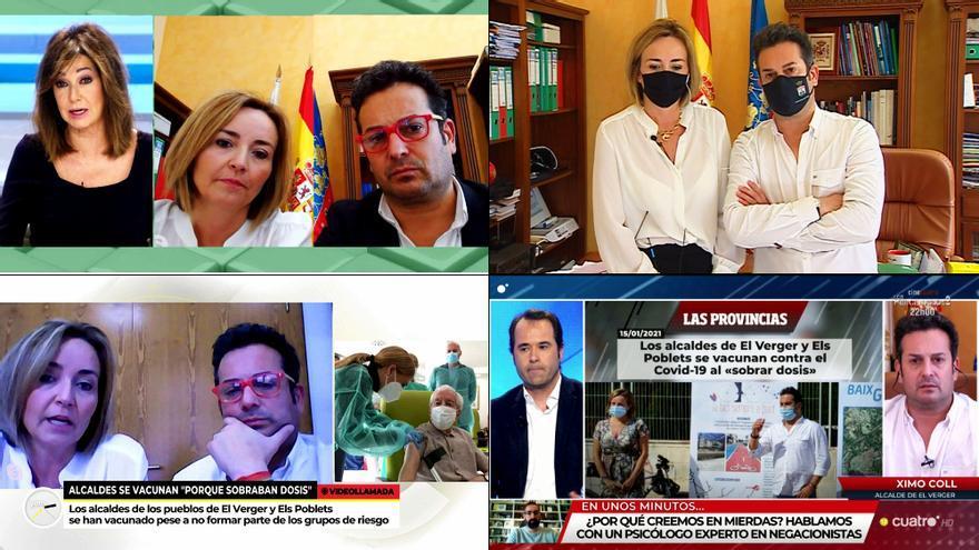 La tourné de los alcaldes vacunados de coronavirus en Telecinco, Antena 3 y Cuatro