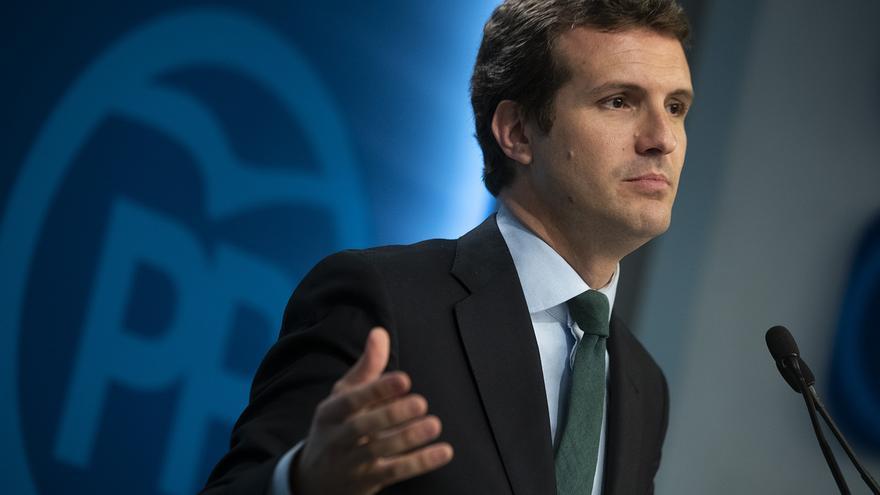 Pablo Casado, este martes, tras el Comité Ejecutivo Nacional del PP.