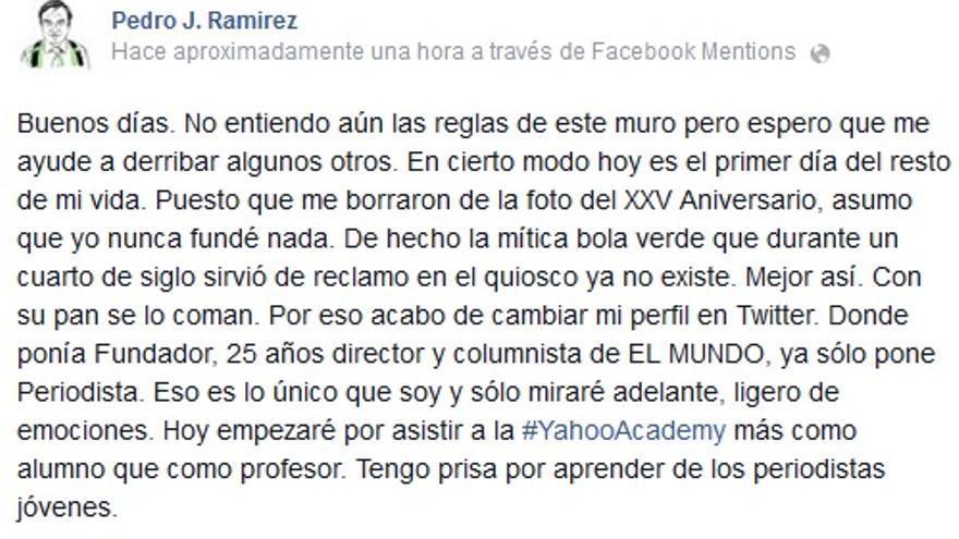 Post de Pedro J. Ramírez en su muro de Facebook