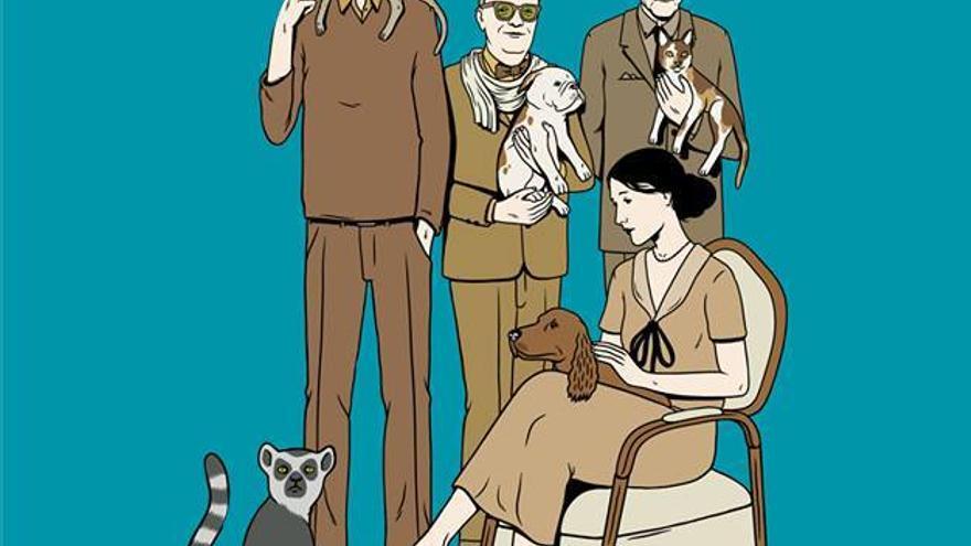 Julio Cortázar, Truman Capote, William Burroughs y Virginia Woolf con sus amigos no humanos. Portada del libro 'Perros, gatos y lémures. Los escritores y sus animales' (Errata Naturae Editores, 2011). Ilustración: @David Sánchez