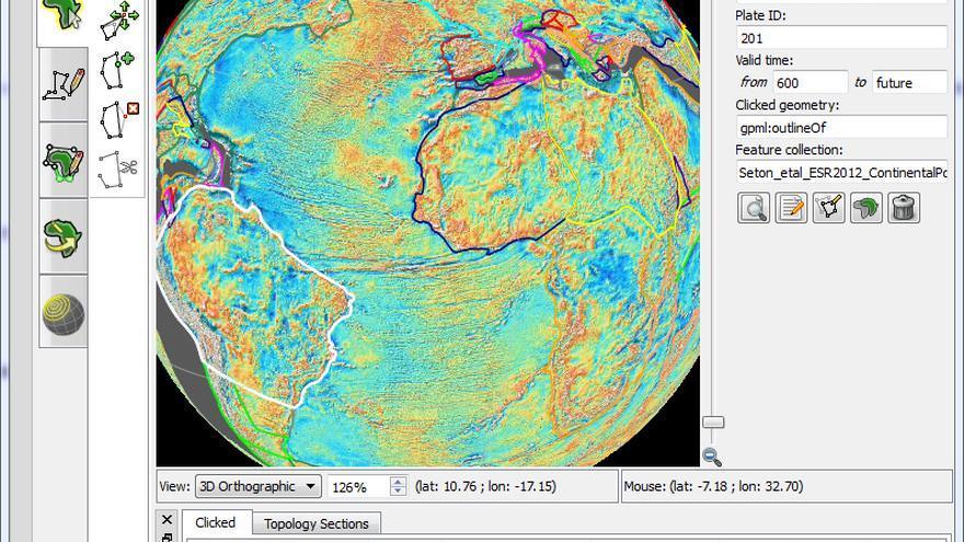 Interfaz de la versión GPlates 1.5., que permite al usuario viajar en el tiempo