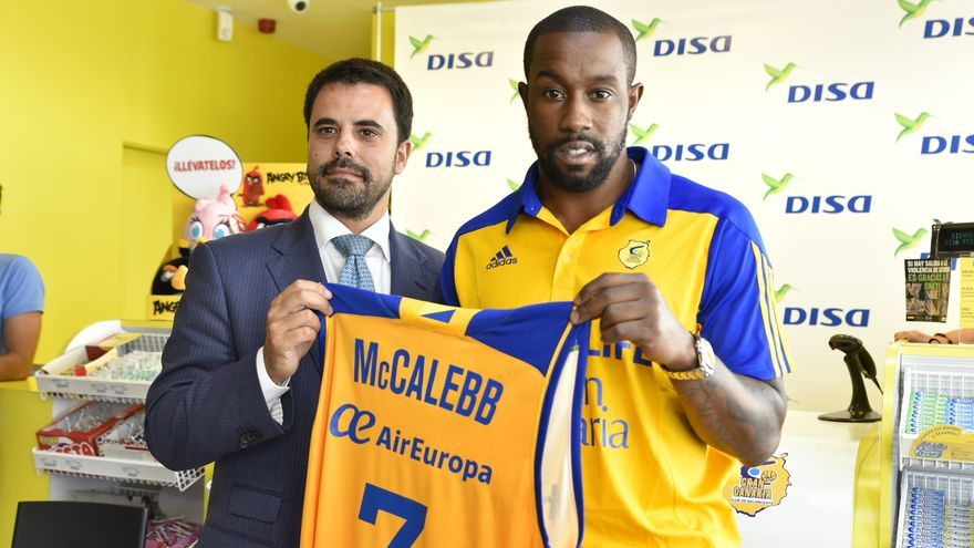 Bo McCalebb durante su presentación oficial como jugador del Herbalife Gran Canaria.