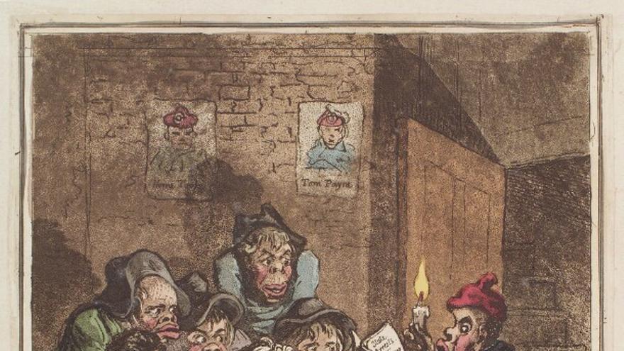 Cómic político de la Sociedad de Correspondencia de Londres, por James Gillray (1798)