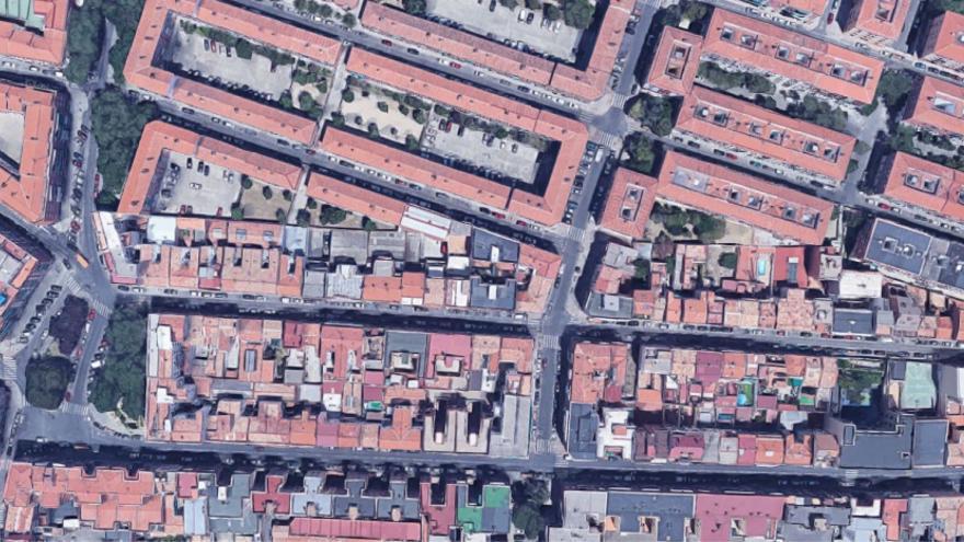 Trazado fantasma en el barrio de Lucero, en Madrid