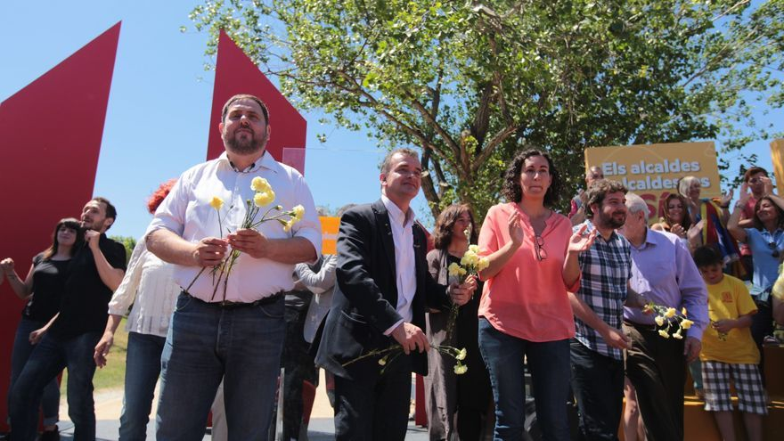 Oriol Junqueras, Alfred Bosch i altres polítics que han intervingut a l'acte central de campanya / ERC - Albert Salamé