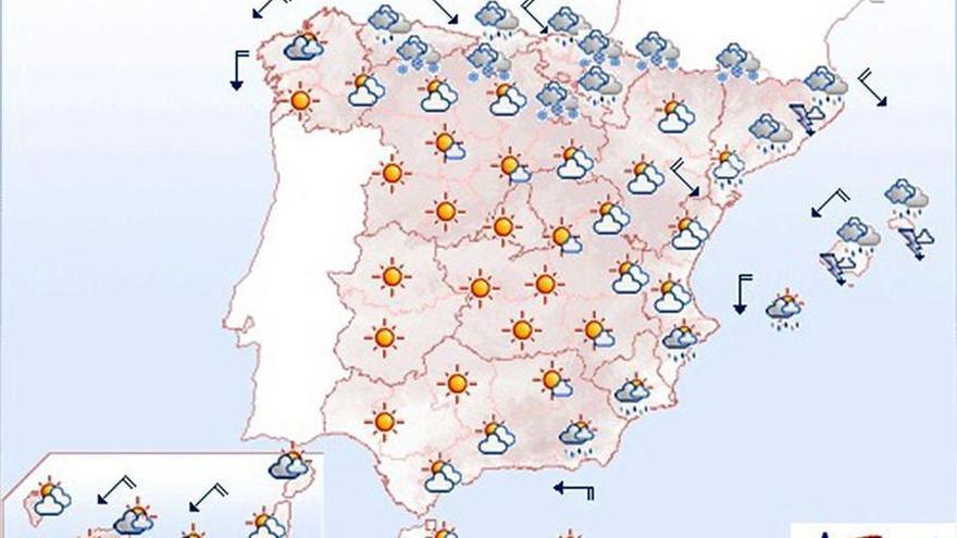 Mañana lluvia fuerte en Baleares, Cataluña y Cantábrico