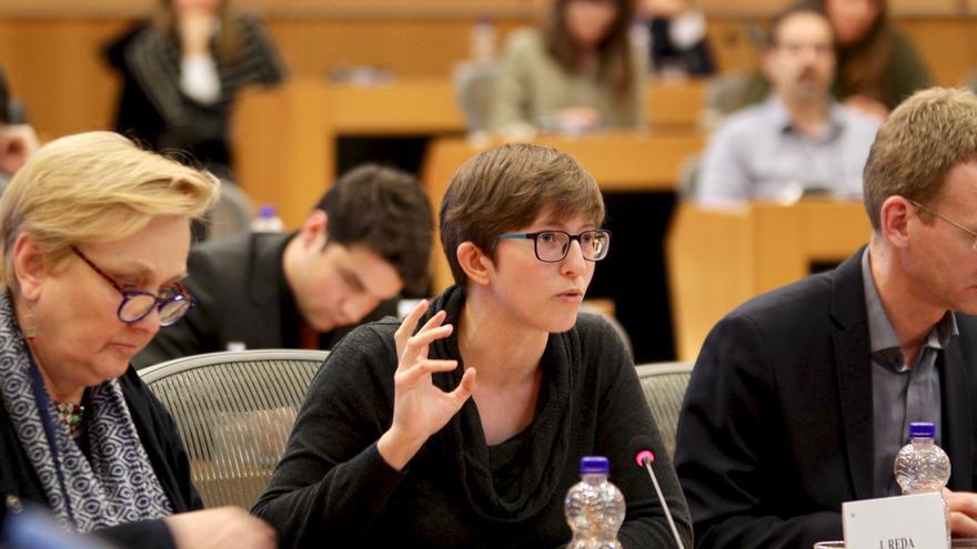 Julia Reda durante una de sus últimas intervenciones