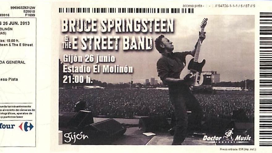 Entrada para el concierto de Bruce Sprinsgteen el pasado 26 de junio en Gijón