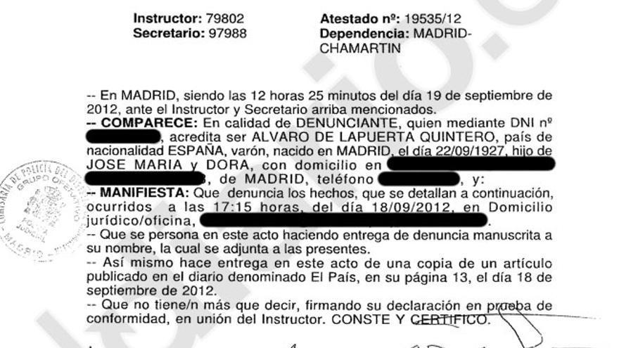 Denuncia presentada por Álvaro Lapuerta en comisaría (página 1)