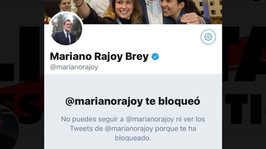 Mensaje de Twitter que informa de que Mariano Rajoy ha impedido que se muestren sus mensajes.