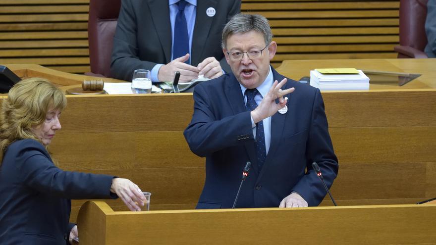 El president Ximo Puig interviene en la sesión de control en las Corts Valencianes