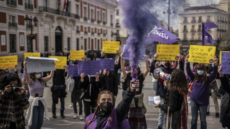 Concentración 8M convocada en la Puerta del Sol de Madrid por el Sindicato de Estudiantes