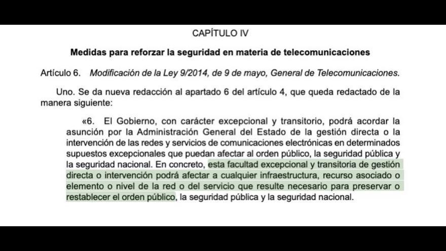 """Argumentación presente en el decreto-ley por el que el Gobierno se autoriza a controlar Internet para """"restablecer el orden público"""""""