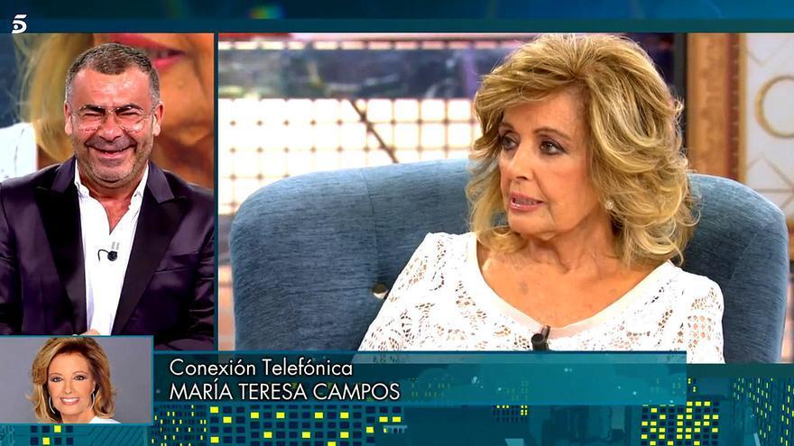 María Teresa Campos, muy seria con Jorge Javier Vázquez en el 'Deluxe' por una broma sobre su confinamiento