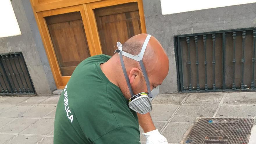 Un técnico aplica sobre las bocas del alcantarillado de la ciudad capitalina una pintura que tapa el efecto residual del insecticida.