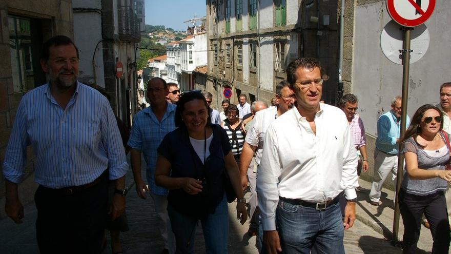 Rajoy, con María Faraldo y Feijóo cuando el líder del PP gallego ocupaba la oposición