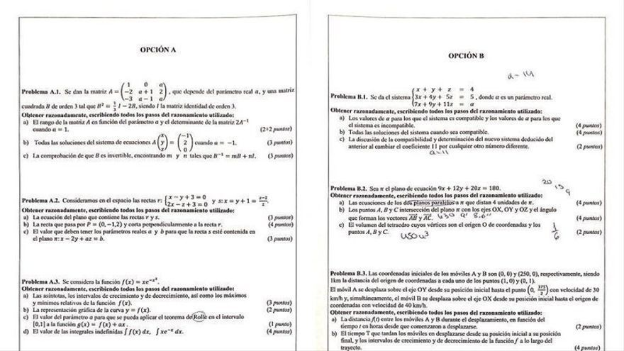 Imagen del examen de Matemáticas II de la PAU